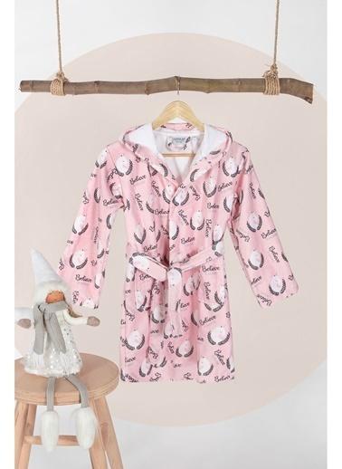Hamur Unicorn Pembe Kapşonlu Bebek Çocuk Bornozu Pembe
